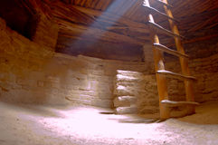 Spruce tree house kiva. A kiva, an ancient underground Native American dwelling, is part of a cliff dwelling at Mesa Verde, Colorado royalty free stock images