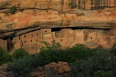 View of Mesa Verde Indian ruins from across the canyon. Spruce tree House at Mesa Verde Indian ruins stock photography