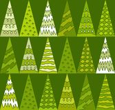 Spruce, trees, green, Christmas, triangles, geometric, green background, seamless. Royalty Free Stock Photos