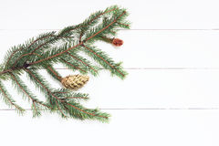 Spruce twig with cones on white wooden background. New Year, Christmas. Toned image, film effect.  Stock Image