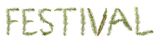 Spruce twigs forming the phrase 'Festival' Royalty Free Stock Photos