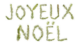 Spruce twigs forming the phrase 'Joyeux Noel' Royalty Free Stock Photo
