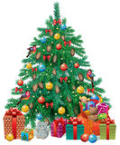 Spruced Christmas tree Stock Images