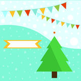 Spruced Christmas tree on a bright background Stock Images