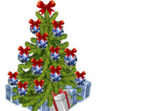 Spruced Christmas tree with gifts. Royalty Free Stock Image