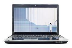 sprucken bärbar datorlcd-skärm Royaltyfria Bilder