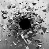 Sprucken bakgrund för abstrakt begrepp för explosionbetongvägghål royaltyfri illustrationer