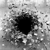 Sprucken bruten vägg för mörker i betongvägg Kan användas som en vykort Arkivfoto