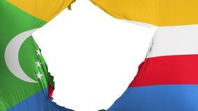 Sprucken Comoros flagga stock illustrationer