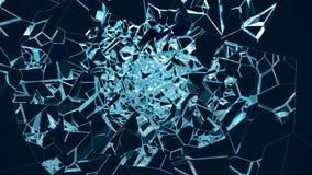 sprucken glasvägg för illustration 3D St?lle f?r ditt baner, annonsering Explosionen orsakade en spricka i v?ggen royaltyfri illustrationer
