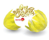 Sprucken guld- äggskal Brutna easter ägg med dekorativa beståndsdelar Vektorillustration för det designeaster kortet Påsk Royaltyfri Bild