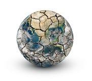 Sprucken jordplanet som isoleras på en vit bakgrund Arkivbilder
