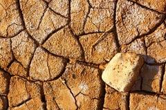 Sprucken lerajordning in i den torra sommarsäsongen royaltyfri fotografi