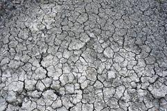 Sprucken lerajordning in i det torrt Arkivfoto
