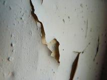 Sprucken målarfärg på en stugavägg Arkivfoto