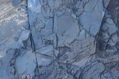 Sprucken och sliten för abstrakt begrepptextur för blå sten bakgrund Arkivbilder
