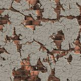 Sprucken tegelstenvägg. Sömlös Tileable textur. royaltyfri bild