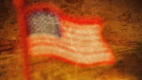 Sprucken U S flagga över översikt Royaltyfria Foton
