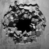 Sprucket brutet h?l f?r m?rker i betongv?gg royaltyfri foto