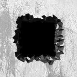 Sprucket brutet h?l f?r m?rker i betongv?gg fotografering för bildbyråer