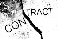 Sprucket cement med ordet & x22en; contract& x22; arkivfoton