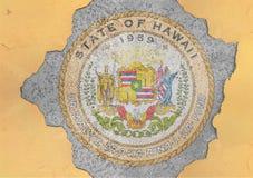 Sprucket hål med för Hawaii för USA-stat abstrakt begrepp för flagga skyddsremsa i fasadvägg Arkivfoton