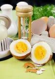 Sprucket kokt ägg arkivbilder