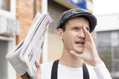 Spruiking Newspaper Boy Royalty Free Stock Images