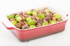 Spruiten, Kastanjes & Bacon Stock Afbeelding