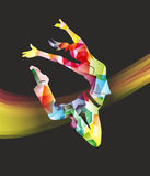 Sprung. Abstract and colorful illustration of a woman jumping Stock Photo