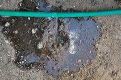Sprung im Bewässerungsschlauch Sch?digender Schlauch lizenzfreie stockfotografie