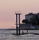 Sprungbrett Zadar Hrvatska stockbilder