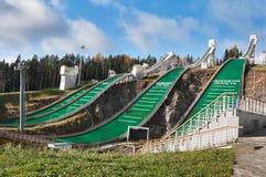 Sprungbrettkomplex auf Berg lang in Nizhny Tagil Russland Stockfoto