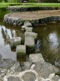 Sprungbrettweg über dem Wasser in einem japanischen Garten stockfotos