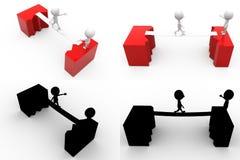 Sprungsbrücke Konzept-Sammlungen des Mannes 3d mit Alpha And Shadow Channel Lizenzfreie Stockbilder
