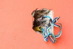 Sprungslochwand mit elektrischen farbigen Drähten, copyspace auf dem Le Stockbilder