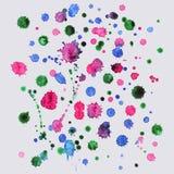 Sprutmålningsfärg vattenfärgfärgstänkbakgrund, färgrik målarfärgdropptextur Arkivbild