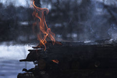 Spruts of flame Stock Photo