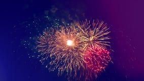 Spruzza dei fuochi d'artificio colourful in mezzo al cielo illustrazione di stock