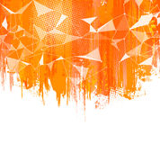 Spruzza il fondo arancio L'estratto creativo con spruzzata variopinta, semitono doted elementi e progettazione triangolare Fotografia Stock