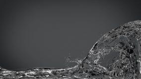 Spruzzata astratta dell'acqua su grigio scuro elegante Fotografia Stock