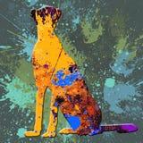 Spruzzata astratta Tiger Painting - acrilico sulla pittura della tela Fotografia Stock Libera da Diritti