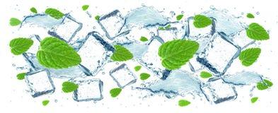 Spruzzata dei cubetti di ghiaccio e dell'acqua Fotografia Stock Libera da Diritti