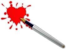 Spruzzata del cuore e della penna Fotografia Stock Libera da Diritti