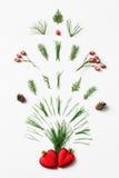 Spruzzata del fuoco d'artificio di inverno degli aghi dell'albero, dei coni e delle bacche rosse da due cuori Concetto creativo d Fotografie Stock Libere da Diritti