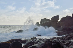Spruzzata del mare - Seychelles Fotografie Stock Libere da Diritti