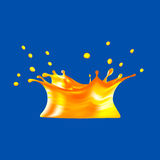 Spruzzata del succo d'arancia isolata su fondo blu illustrazione 3D Fotografia Stock Libera da Diritti