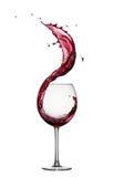 Spruzzata del vino rosso Fotografie Stock Libere da Diritti