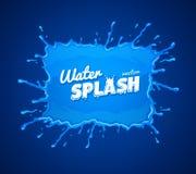 Spruzzata dell'acqua con le gocce di caduta blu Fotografie Stock Libere da Diritti
