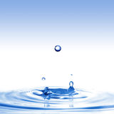 Spruzzata dell'acqua con le gocce isolate su bianco Immagini Stock Libere da Diritti